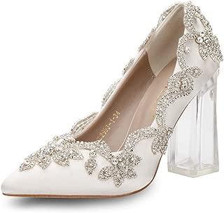 Candy&Liu Women's Crystal Applique Glued Clear High Heel Wedding/Party Pump Shoes