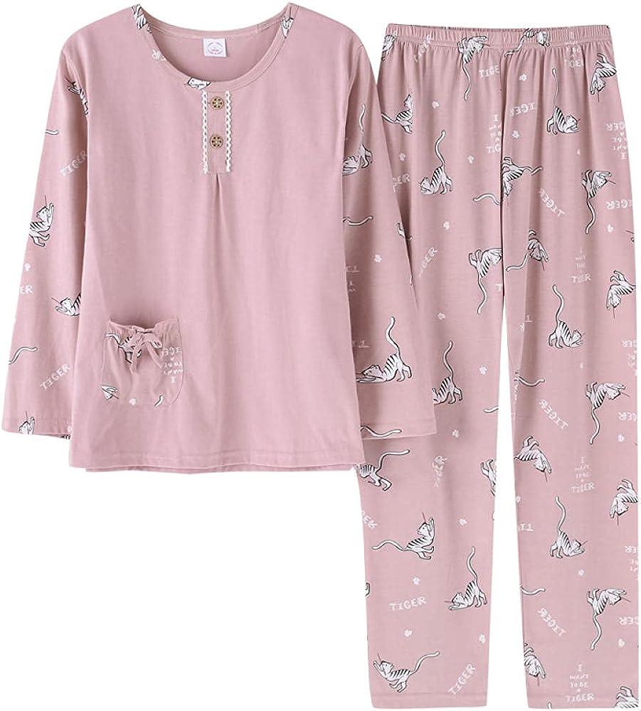 Fixed price for sale Autumn Women Pajamas Max 41% OFF Cotton Women's Set Sleeve Pajama Casua Long