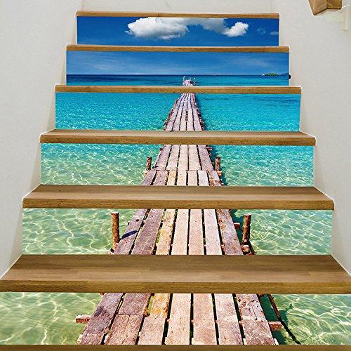 Yunhigh 6pcs 3D escaleras Adhesivas Auto de la Pared de la Escalera Decoraciones Decorativas del Paisaje de la Playa Arte DIY escaleras Removibles escaleras Adhesivos de Vinilo - Cerca de la Playa: