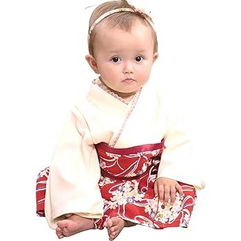 Sweet Mommy 袴 ロンパース ベビー 女の子 着物 カバーオール 日本製和柄ちりめん オーガニックコットン身頃 レッド 80