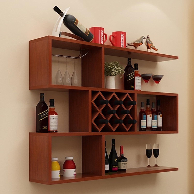 BJLWT Solid Wood Multi-Functional Racks, Living Room Hanging Wine Cabinet Racks 100  100  23cm (color   Teak)