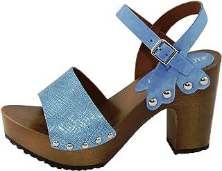 Silfer Shoes - Sandalo Zoccoli in Pelle di Nabuk, Colore Jeans