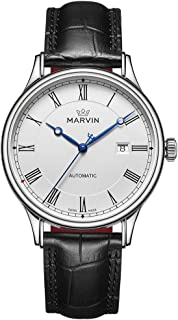 スイス製 Marvin 機械的ムーブメント ステンレスケース 黒色ワニ紋革の時計バンド 3つの青い手と日付表示腕時計 ファッション腕時計