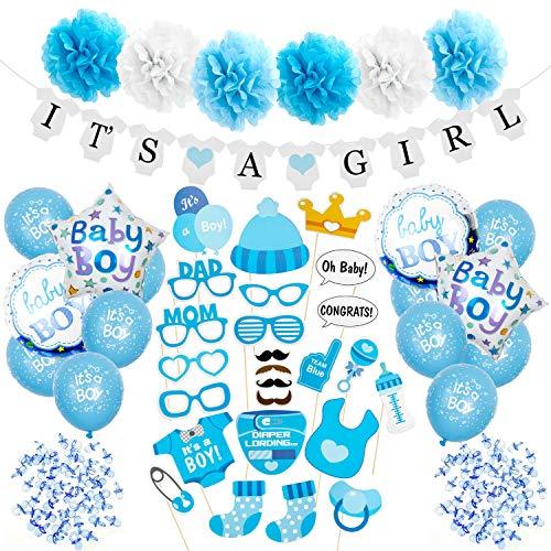 Maojuee Decoraciones Fiesta de Bienvenida de Bebé Niño DIY Photo Booth Selfie Accesorios Favorecer Decoracion para Baby Shower Bautismo Baby Cumpleaños Baby Shower Fiesta (Azul)