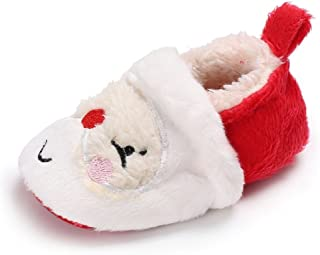 Newborn Baby Boys Girls Santa Claus Christmas Slippers Warm Fur Infant Toddler Boots Booties Shoes