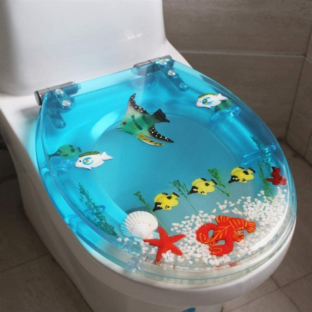 GT.S-Toilet seat Marine Fish Adjustable Recommended Lid,Soft shopping Close Toilet