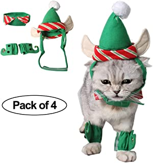 Fast and Good Cat Santa Christmas Elf Hat + Collar + 2Pcs Elf Foot Straps, Head Wear Accesories Christmas Costume Green Elf Outfits for Pet Dog Cat Rabbit(Pack of 4)