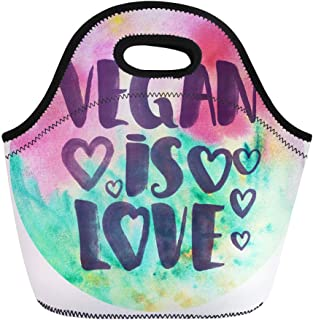 Semtomn Lunch Bags Badge Colorful Abstract Watercolor Brush Lettering Vegan is Love Neoprene Lunch Bag Lunchbox Tote Bag Portable Picnic Bag Cooler Bag