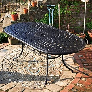 Lazy Susan Catherine 210 x 105cm Ovales Gartenmöbelset Alu - 1 CATHERINE Tisch + 6 MARY Stühle