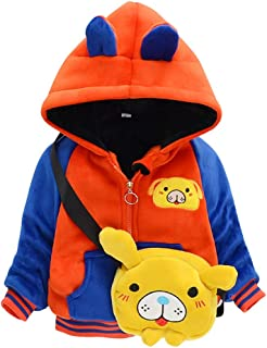 DOLYKUI 0-4 Years Kids Warm Coat, Children Kids Winter Warm Cartoon Animal Zipper Jacket Hooded Coat With Bag, Kids Christmas Valentine's Day Winter Long Sleeve Clothes