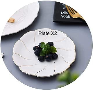 2Pcs Direct creative Japanese ceramic breakfast bread plate home restaurant western dessert cake storage decorative plate,C,15cmX1.5cm