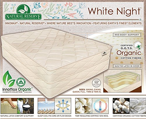INNOMAX White Night - 10' Natural Latex Mattress, Queen