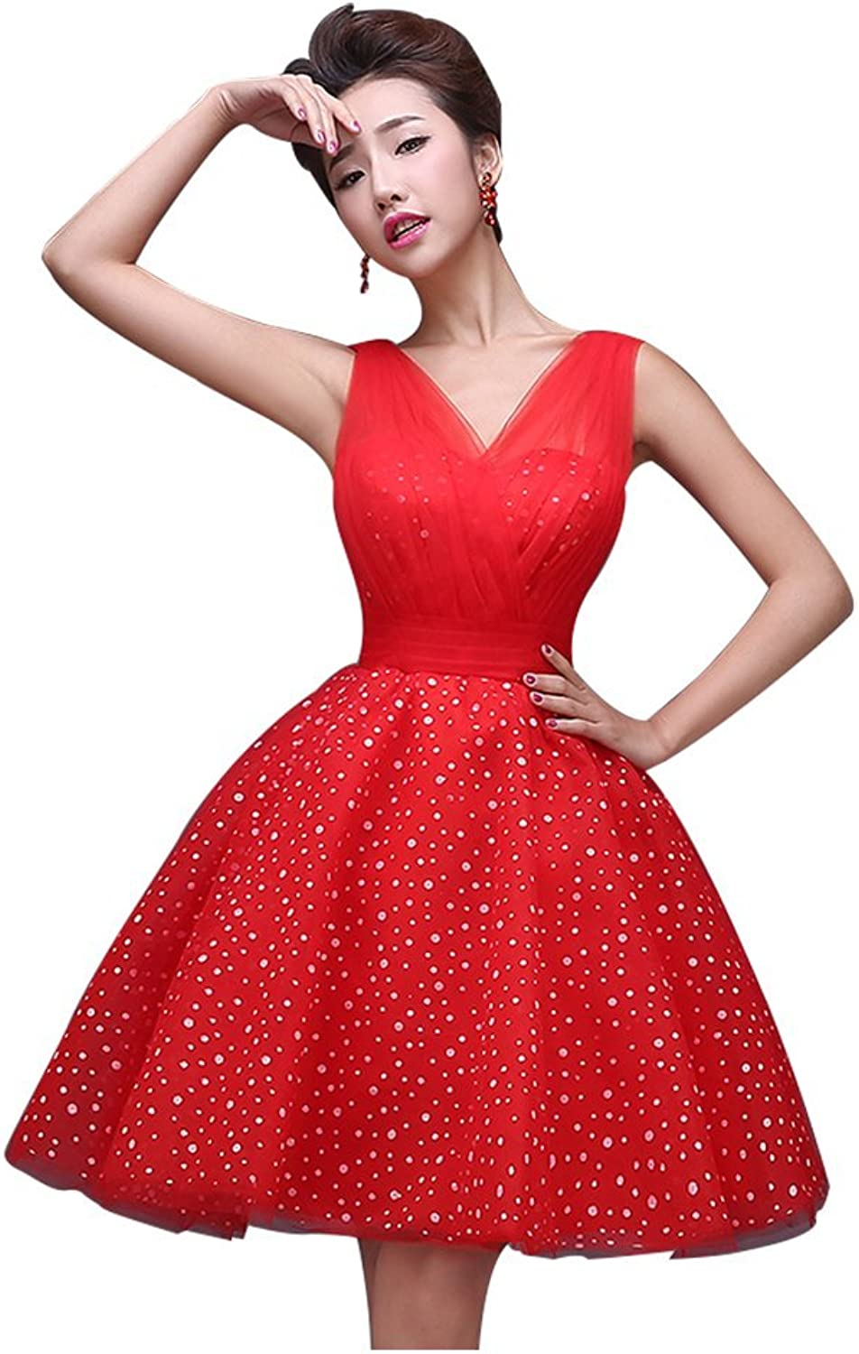 Drasawee Off Shoulder Ruffled Short Bridesmaid Evening Prom Party Dress Red