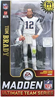 EA Sports Mcfarlane Madden 19 Ultimate Team Series Tom Brady Exclusive White Uniform Figure Gold Team Fantasy Pack Inside
