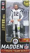 EA Sports Mcfarlane Madden 19 Ultimate Team Series Tom Brady Exclusive White Uniform Figure Gold Team Fantasy Pack Inside