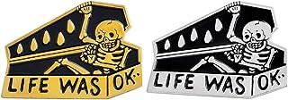 Charmart Life was OK Lapel Pins 2 Piece Set Skull Coffin Enamel Brooch Denim Coat Jackets Shirt Badge Gold Silver