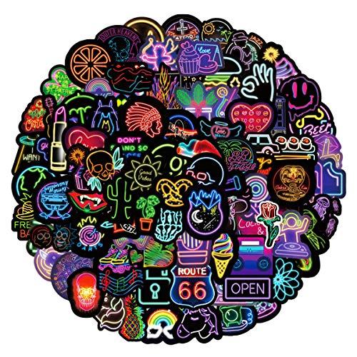LeQin Aufkleber Pack 100 PCS, Vinyl Neon Graffiti Sticker, PVC Wasserdichte Vintage Aufkleber für Skateboard, Laptop, Telefon, Fahrrad, Moto, Gepäck, Wasserflaschen, Gitarre