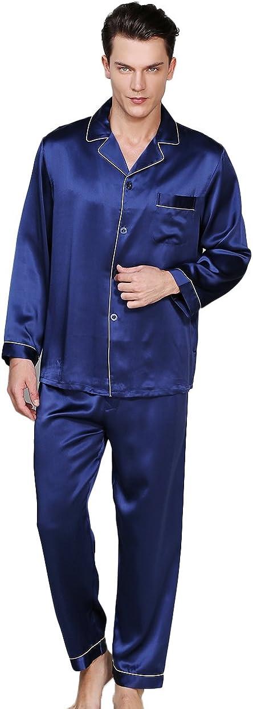 CLC Men's Pure Mulberry Silk Pajama Set Sleep Sets 19mm