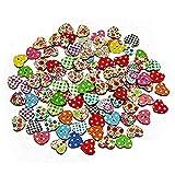 LIOOBO - Bottoni in legno a forma di coniglio, multicolore, 50 pezzi Cuore M