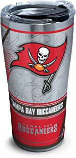 Tervis 1266694 NFL Tampa Bay Buccaneers Edge Stainless Steel Tumbler with Clear and Black Hammer Lid 20oz, Silver