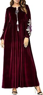 BESBOMIG árabe Casual Vestido Noble Musulmanes Largo Batas Abaya Maxi Falda Vestidos - Medio Este Pavo