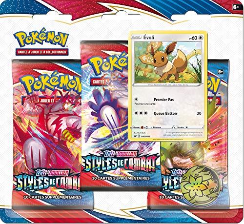 Pokemon 3er Pack Booster (zufälliges Modell) – Schwert und Schild im Kampfstil (EB05) – Gesellschaftsspiel – Kartenspiel zum Sammeln Mehrfarbig