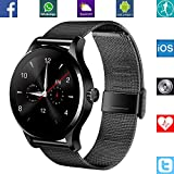 BANAUS B4B B4 Smart Watch avec Bluetooth 4.0 Monitor Rythme Cardiaque pour iPhone 6/6S/7/7S/8/8S/X/Xr/XS/Max/Samsung S6/S7/S8/S9/Note5/Note6/Note7/Note8(Noir)
