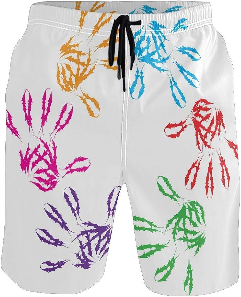 IPOXK Men's Swim Trunks, Watercolor Handprint Bathing Suits for Men,Beach Board Shorts