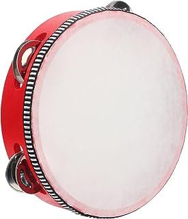 Sponsored Ad - Dreokee Tambourine, 7 inch Red Wooden Handheld Tambourines Hand Held Drum Single Row 5 Pairs Metal Jingle B...