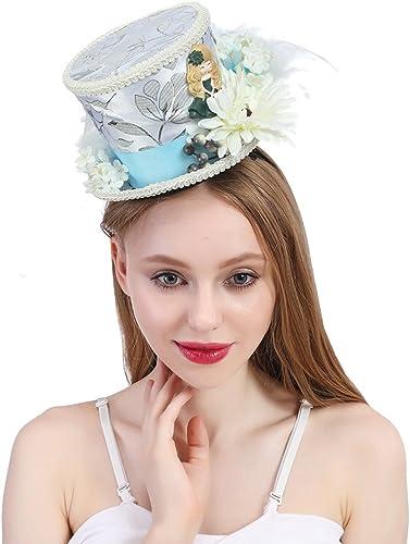 el mejor servicio post-venta DIMDIMMY - Sombrero Sombrero Sombrero de Té con Diseño de Kentucky Derby, Color blanco y Crema, Color Marfil, blanco, 25-30CM  liquidación hasta el 70%