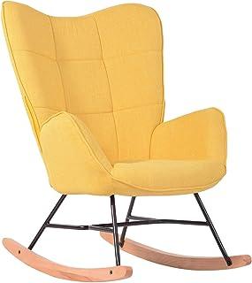 Mueble Cosy - Sillón de balancín, Silla de Ocio y Descanso, Tejido Amarillo para el salón, Comedor, Patas de Madera y Metal, Color Amarillo