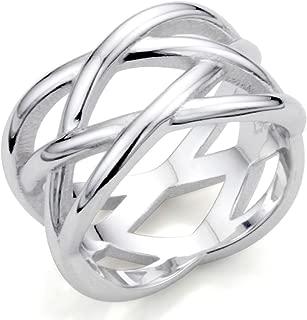 925 Sterling Silver X Criss Cross Eternity Ring