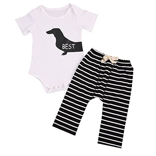 9d3471fba 2Pcs Infant Twins Baby Girl Boy Best Friends Short Sleeve Romper+Striped Pants  Outfit Clothes