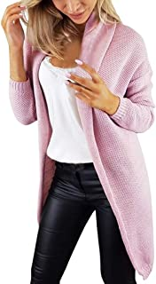 Holzkary Women's Cardigan Loose Long Sleeve Open Front Coat Casual Solid Color Knitted Sweaters