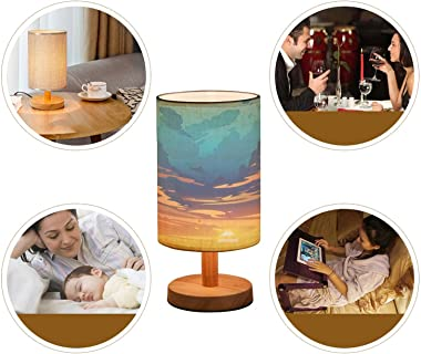 Minimalist Bedside Table Lamp Evening Sky Clouds Sunset Background Design Solid Wood Nightstand Lamp Bedside Desk Lamp Wood B
