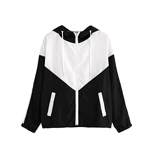 71e1439615b9 Milumia Women s Color Block Drawstring Hooded Zip Up Sports Jacket  Windproof Windbreaker