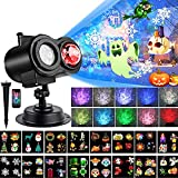 Yokgrass Halloween Christmas Projector Lights, 2-in-1 Ocean Wave Waterproof Light Projector with 16 Slides Patterns 10 Colors Outdoor Indoor Holiday for Halloween Xmas Birthday Party Decorations