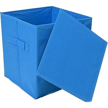 Cuadrado plegable juguete cubo lona cajas de almacenamiento de tela 27 x 27 x 28 cm, tamaño mediano (Azul): Amazon.es: Hogar