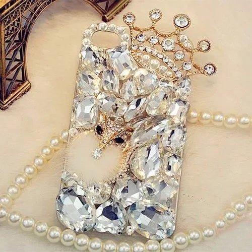 for iPhone 8 Plus Women Bling Diamond Rhinestone Case,Fox Crown Diamond Case,3D Women Girl Handmade Crystal Bling Diamonds Shiny Rhinestone Cute Women Girly Soft Case for iPhone 8 Plus / 7 Plus