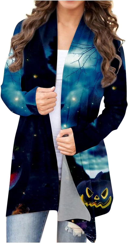 felwors Womens Halloween Cardigan, Womens Lightweight Cat Pumpkin Graphic Long Sleeve Soft Open Front Autumn Coat Blouse