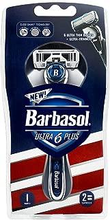 Barbasol Ultra 6 Plus Men's Razor with 2 Razor Blade Refills (1 Handle + 2 Cartridges), Mens Razors/Blades