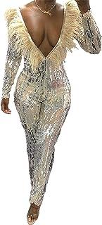 HTABY HTABY Frauen Feder Funkelnder Pailletten Jumpsuit Bodycon Overalls Sexy Deep V Ausschnitt Langarm Elegant Cocktail Backless Party Strampler,Apricot,XXL