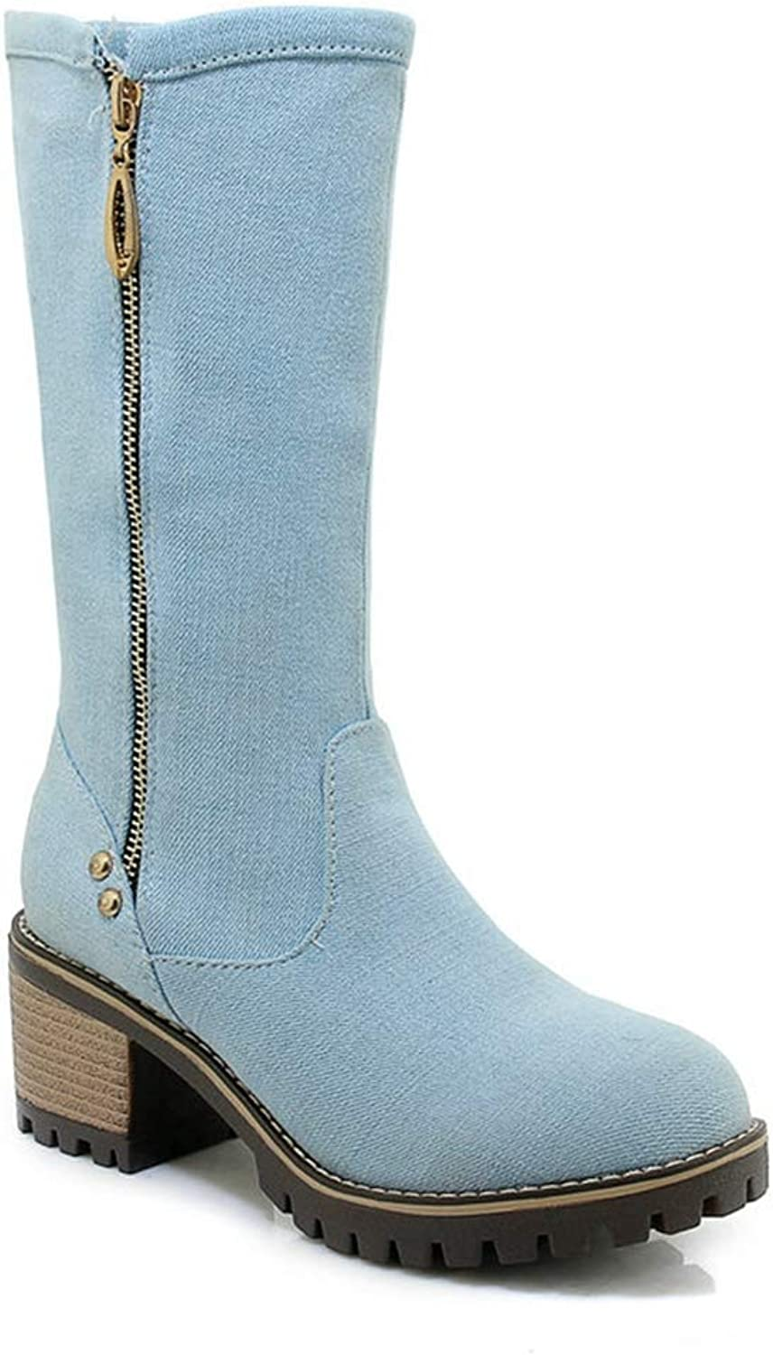 Kyle Walsh Pa Women Denim high Heels Ladies Boots Female Casual shoes Spring Autumn Western Boots Large Size 43