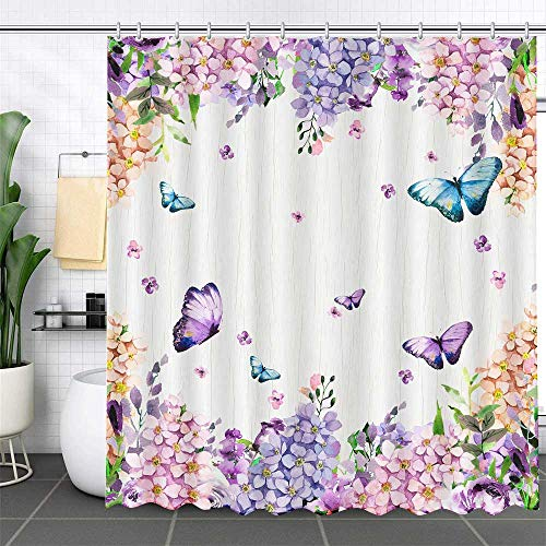 MEHOFOND Spring Butterfly Floral Girl Shower Curtain 72x72 Inch Purple Flower Lilac Blue Watercolor Bathroom Decor Polyester Waterproof Fabric with 12 Hooks