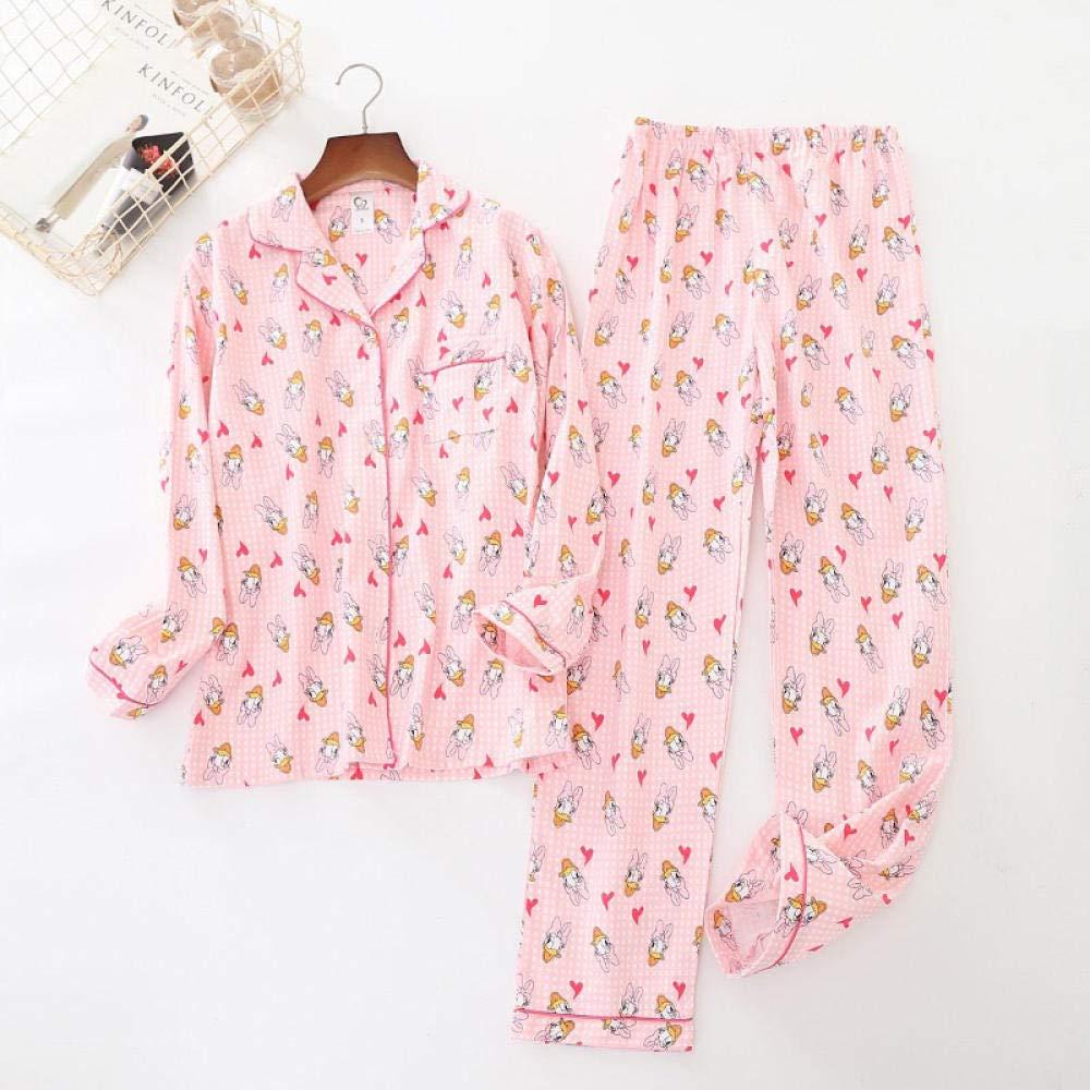 Lindo Pato Rosa 100% algodón Pijama Traje Mujer Lindo Pijama de Manga Larga Muji Invierno Cepillado Invierno cálido Pijama casero-PH-003_S: Amazon.es: Hogar
