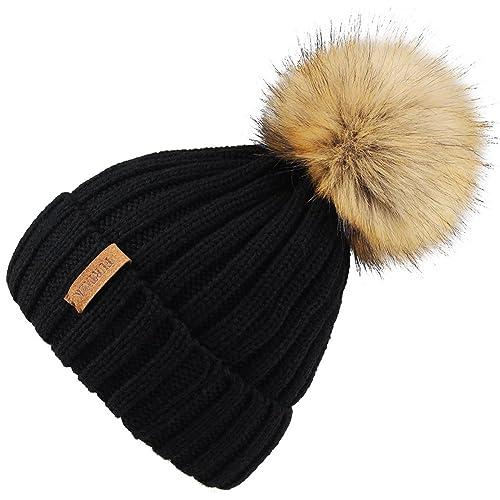 0543e3c626c FURTALK Kids Winter Faux Fur Pom Pom Hat Toddler Boys Girls Kids Knitted  Beanie Hat (