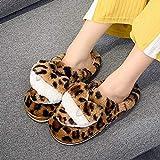 Zapatillas de algodón estampado de leopardo otoño e invierno interior cálido medio color marrón 38/39