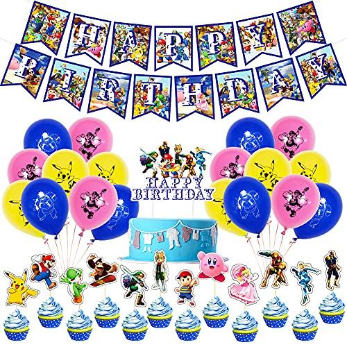 BESTZY Decoracion Cumpleaños Super Mario, Globo de Pikachu, Balloons Globos de Fiesta Aluminio Globo Suministros de Fiesta para Niños Decoraciones Suministros