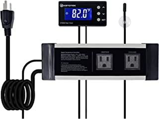 YINGTU Temperature Controller, Pre-Wired Outlet Thermostat Digital, Dual Stage Heating and Cooling Control for Brewing Fermentation Kegerator, Aquarium, Reptile Keeping. 110V±15%, 10A [ Updated]