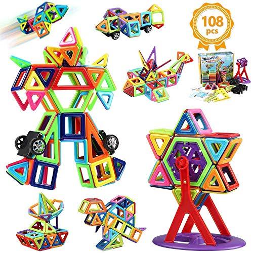 Innoo Tech Costruzioni Magnetiche Blocchi 108 Pezzi Giocattoli Educativi Kit Accatastamento Aggiornati per I Bambini Lasciate Che Il Vostro Bambino Imparare Colori e Forme Attraverso